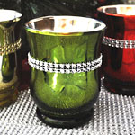 SALE 50% - Tall Green Glimmer Candle
