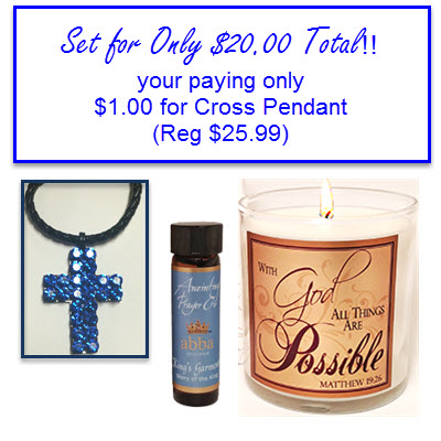 All Things Are Possible Set with Blue Jeweled Cross Necklace for Only $1.00 (Set Reg $25.99)