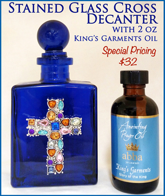 King's Garments 2oz Anointing Prayer OIl & Beautiful Mosaic Cross Decanter