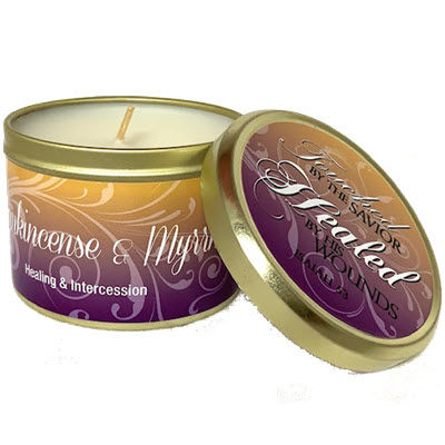 "Frankincense & Myrrh Scripture Tin -""Healed by His Wounds"""