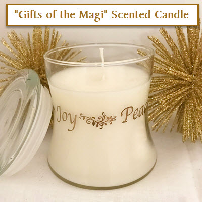 FAITH*LOVE*PEACE*JOY CANDLE IN GIFTS OF THE MAGI