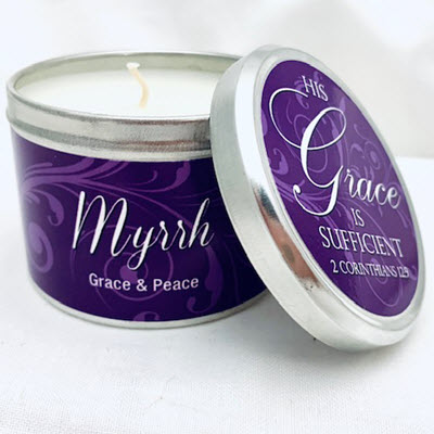 "Myrrh Scripture Tin -""His Grace is Sufficient"""