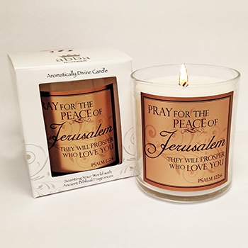 "Scripture Candle- ""Pray for the Peace"" - Frankincense & Myrrh"