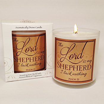 "Scripture Candle- ""Lord is my Shepherd"" - Rose"