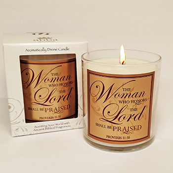 "Scripture Candle- ""The Woman Who Honors"" - Rose"