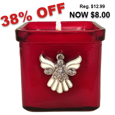 Pomegranate Ivory Angel Candle - Red Glass