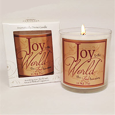 "Scripture Candle- ""Joy to the World"" - Galilee Apple & Cinnamon"