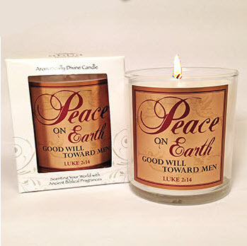 "Scripture Candle- ""Peace on Earth"" - Holy Land Spruce"