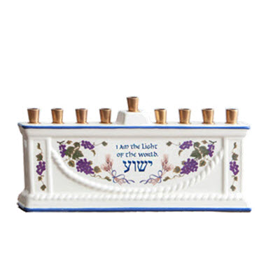 """I am the Light of the World"" Hanukkiah with Set of 45 Candles"