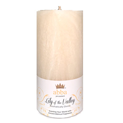 "SPECIAL RUN - White Lily of the Valley 3"" x 6"" Pillar Candle"