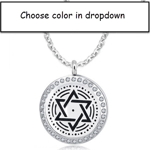 DIFFUSER PENDANT - JEWELED STAR OF DAVID STAINLESS - 1 FOR $16.99