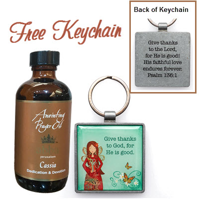 "ONLY $34. CSO4-KEP026   Cassia 4 oz Oil GET FREE ""Give Thanks to God, ...""  Keychain"