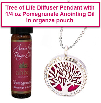 Diffuser Pendant - Tree of Life with 1/4oz Pomegranate Anointing Oil-$22!