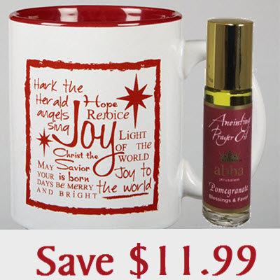 "Joy - ""Hark the herald Angels sing"" mug candle - Pomegranate with 1/3 oz Roll-on Anointing Oil"