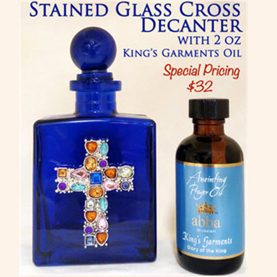Cobalt Blue Jeweled Cross Decanter with 2 oz King's Garments Anointing Oil