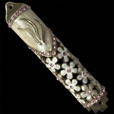 HANUKKAH SPECIAL! Ivory Epozy with Daisies and Large Shin Mezuzah