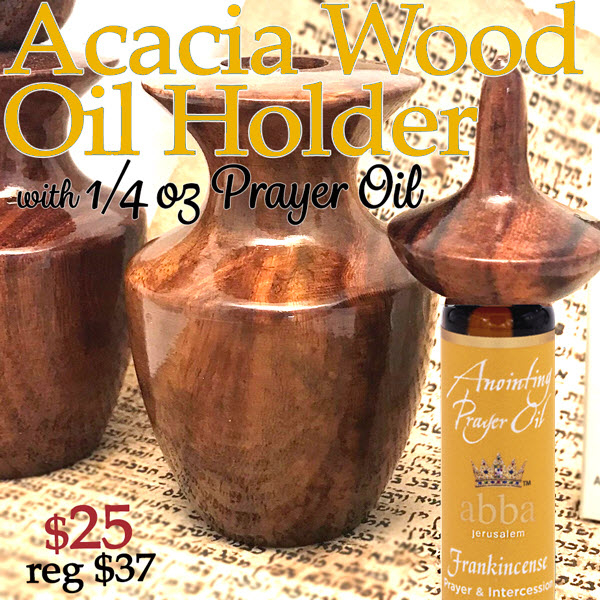 Acacia Wood Oil Holder w/ 1/4oz Anointing Oil