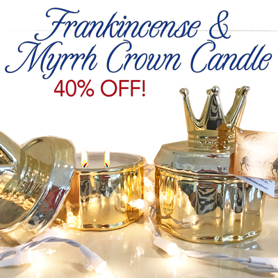 FRANKINCENSE AND MYRRH GOLD CROWN CANDLE - (REG $49.99) 23% OFF!