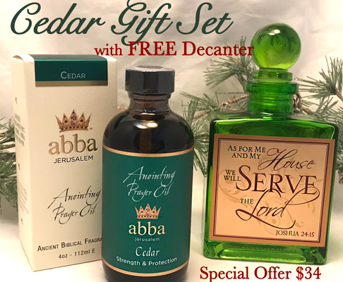 4 oz Cedar Anointing Oil with FREE Scripture Decanter-SAVE $11