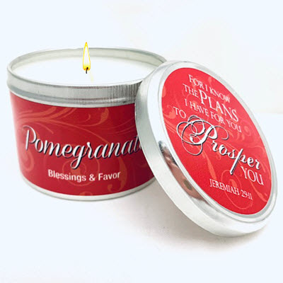 "NEW FRAGRANCE! POMEGRANATE SCRIPTURE TIN ""FOR I KNOW THE PLANS"""