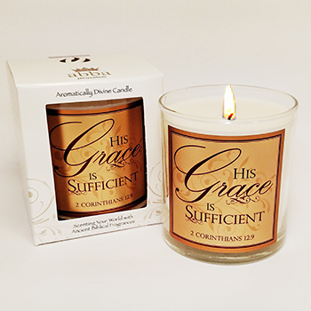 "Scripture Candle- ""His Grace is Sufficient"" - Rose"