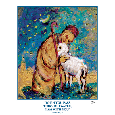 COMFORTING SHEPHERD  PRINT from ISRAEL