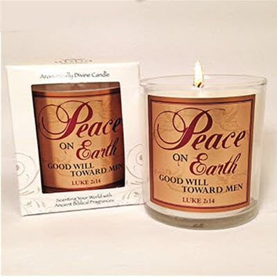 "50% OFF! Scripture Candle- ""Peace on Earth"" - Jaffa Orange"