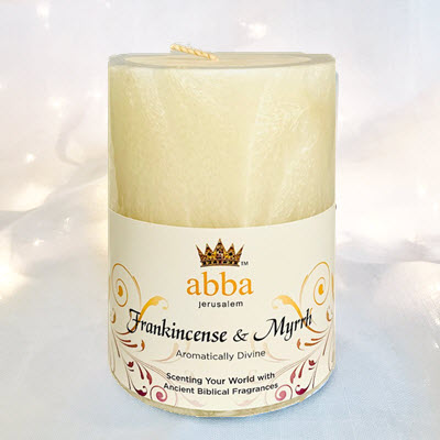 Frankincense & Myrrh 3x4 Pillar  - White