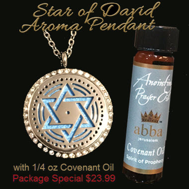 SAVE $2! Diffuser Pendant - Blue Star of David with 1/4oz Anointing Prayer Oil