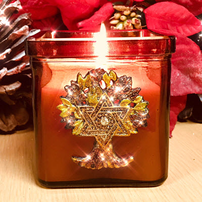 Star of David/Tree of Life Amber Candle - Spikenard