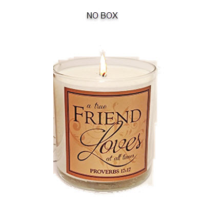 "SCRIPTURE CANDLE - ""A TRUE FRIEND LOVES"" - ROSE OF SHARON"