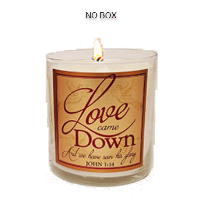 "Illuminated Word Candle- ""Love Came Down"" - Sweet Cinnamon"