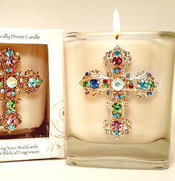 Myrrh Jeweled Cross Candle