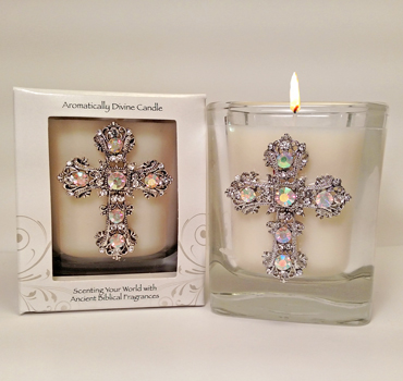 Pomegranate Jeweled Cross Candle
