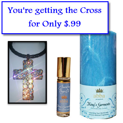 BUY King's Garments 3x6 Candle  and 1/3oz Roll-On Anointing Oil and Get Crystal Cross Necklace for Only $.99 (Set Reg. $35)