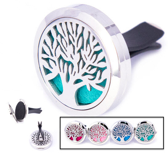 1 for $15.99 - Tree of Life Stainless Steel Aroma Car Diffuser with vent clip