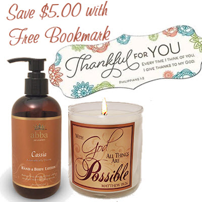 Cassia Hand & Body Lotion, Scripture Candle and FREE Bookmark