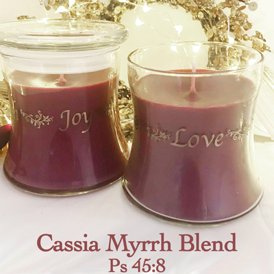 Faith * Love* Peace* Joy* Candle with Lid in Cassia Myrrh