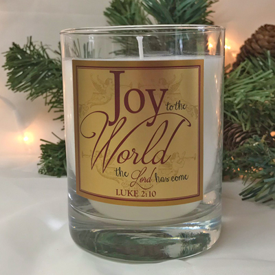 "Scripture Candle- ""Joy to the World"" - Cinnamon"