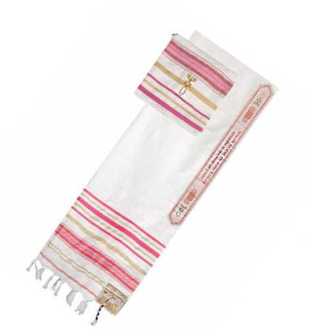 "Talit w/ Bag - Pink Early Christian Symbol (24""x72"")"