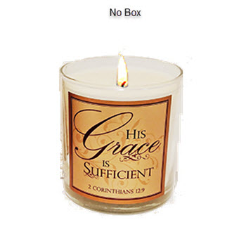 "MYRRH SCRIPTURE CANDLE - ""HIS GRACE IS SUFFICIENT"""