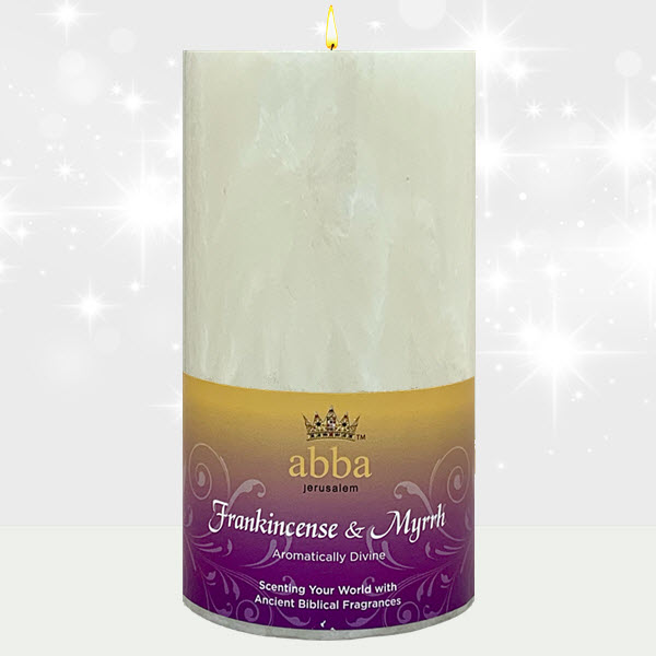 Frankincense & Myrrh 3x6 Pillar - White
