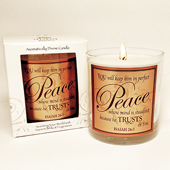 "Scripture Candle- ""Perfect Peace"" - King's Garments"