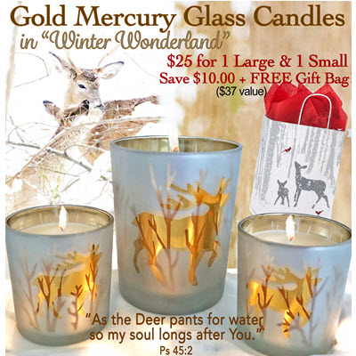 Gold Deer Candle Large & Small - Winter Wonderland with FREE Gift Bag