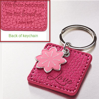 KEYCHAIN - LOVE FAUX LEATHER KEYRING WITH FLOWER CHARM