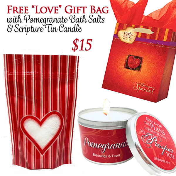 "POMEGRANATE BATH SALTS & SCRIPTURE TIN WITH FREE ""Love Never Fails"" GIFT BAG"