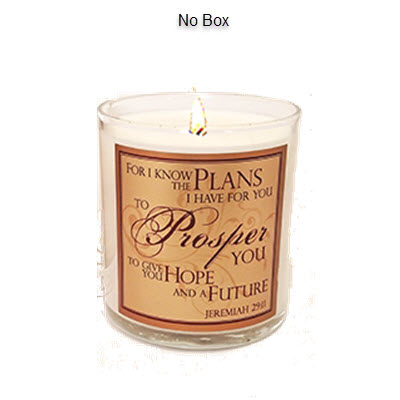 "NO BOX - COVENANT SCRIPTURE CANDLE - ""FOR I KNOW THE PLANS"""