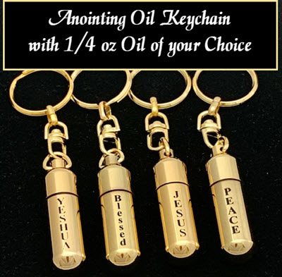 YESHUA - Gold-tone keychain oil holder with 1/4 oz Anointing Oil