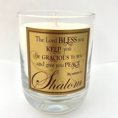"WATERFORD GLASS SCRIPTURE CANDLE ""SHALOM"" - F&M"