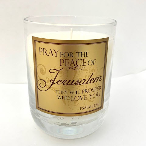 "WATERFORD GLASS SCRIPTURE CANDLE ""PRAY FOR THE PEACE"" - F&M"
